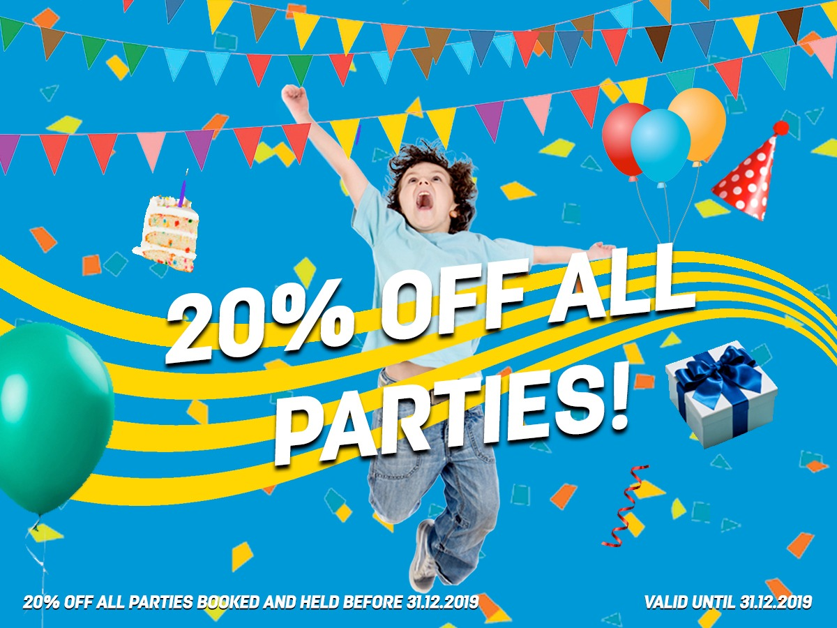 20% OFF ALL PARTIES!